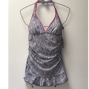 New Kenneth Cole Reaction Rouched Swim Dress L